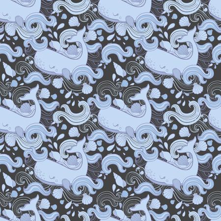 Cute pattern Whale cartoon vector.
