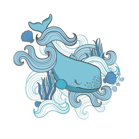 Cute Whale cartoon vector illustration print in white background. Hand draw .