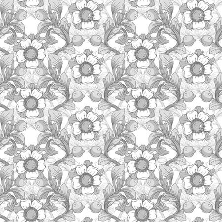 Beautiful gray fantastic floral border ornament delicate Hand drawn illustration.