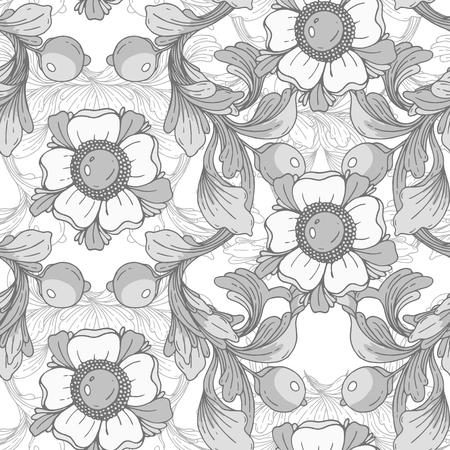 Beautiful fantastic floral border ornament delicate Hand drawn illustration.