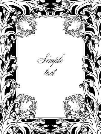 Retro vector ornamental frame, hand draw illustration. Vintage historical.