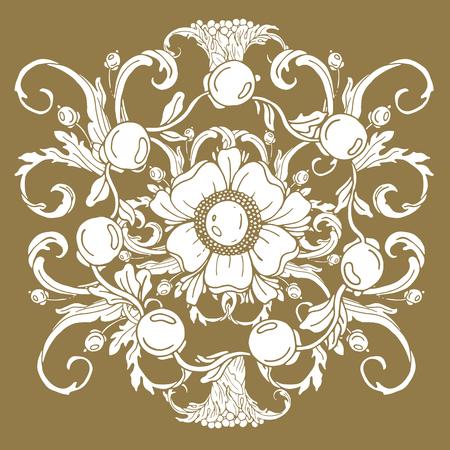 Gold vintage baroque ornament retro antique style acanthus. Decorative design element filigree vector. Hand draw illustration. Illustration