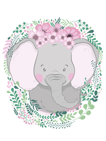 Cute card with hand drawn animal elephant. For printing, print, poster, billboard, postcard and more. Designed for a children's room.