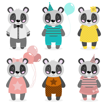 Vector cute happy panda, girls and boys.dressed in different clothes. In white background.Scrapbooking print. congratulate card. Illustration