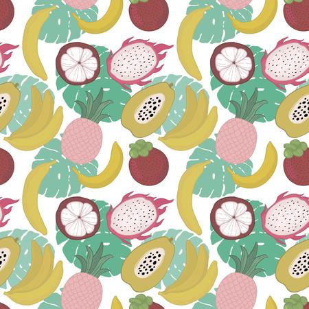Seamless pattern with yellow bananas, pineapples, pitaya, dragon, papaya on white background. Bright summer illustration. Fruit mix design for fabric and decor.