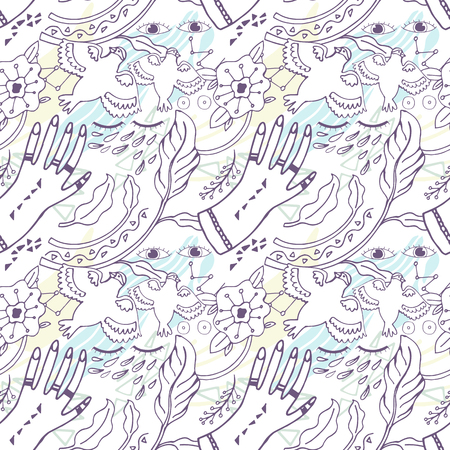 Pattern Peace Hand-Drawn Illustration Background. Doodle sketch. Abstract print 矢量图像
