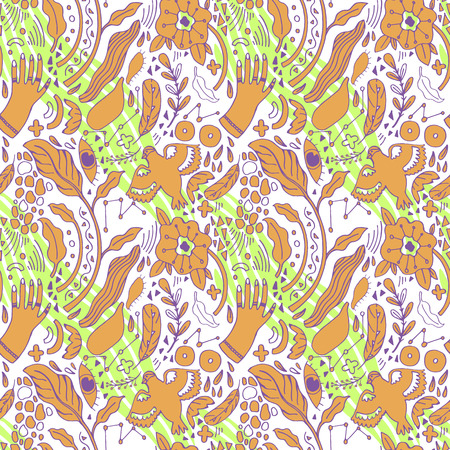 Pattern Peace Hand-Drawn Illustration Background. Doodle sketch. Abstract print  イラスト・ベクター素材