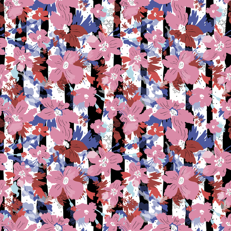 Seamless vector pattern of elegant flowers, Hand draw illustration. 向量圖像