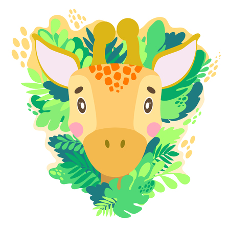 Vector cute giraffe face in the jungle. For print on a T-shirt, a picture in the nursery. Illustration. Vectores