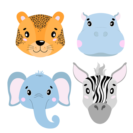Cartoon set Vector Animals face,four objects. Leopard, hippo, elephant zebra Illustration