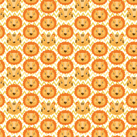 Cute vector seamless pattern with lion and tiger face. On white zigzag background. Cartoon illustration.
