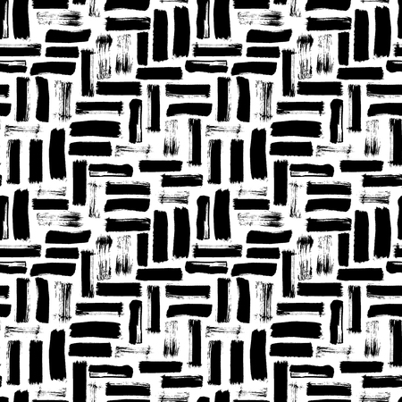 Seamless abstract pattern with brush strokes. Hand-painted texture. Black brushstrokes on a white background. For printing on different subjects. Modern Vintage Style. Trend illustration.
