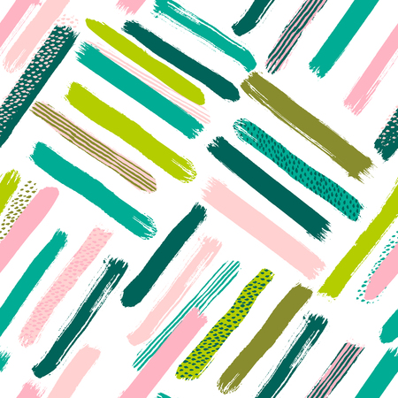 Seamless vector abstract pattern with brush strokes. Hand-painted texture. Pink green brushstrokes on a white background. For printing on different subjects. Modern Vintage Style. Trend illustration.