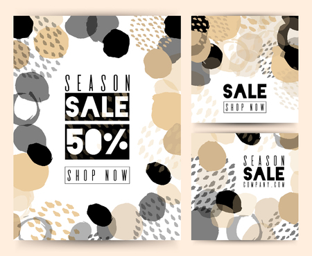 Set of Sale banner template design. For online store, site. Vector illustration. Color brush, versatility, neutral. Abstract frame background.