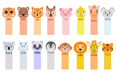 Paper sticker tape are peeled from the corner with animals for children. Vector illustration. Big collection. 矢量图像