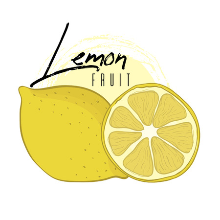 Vector isolated lemon with a cut with text on a white background. Hand drawn illustration.