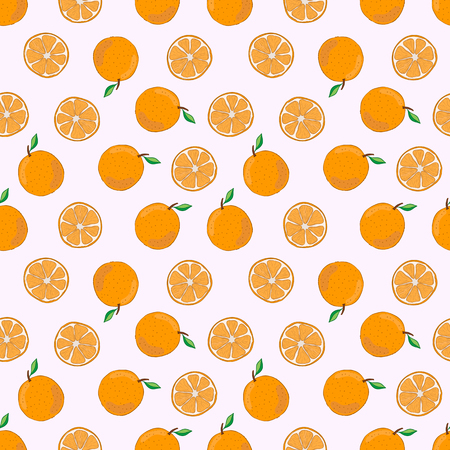 Seamless pattern with orange. Vector illustration. Fruit hand drawn