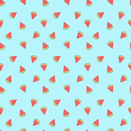 Pattern of sweet juicy pieces watermelon, slices with seed Vector background, illustration hand drawn Illustration