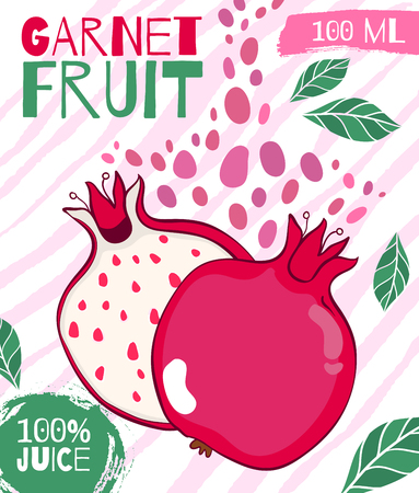 Vector design for packing pomegranate juice. Hand-drawn food poster for farm fresh food. Drawing illustration