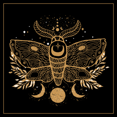 Sketch graphic illustration Beautiful gold Moth with mystic and occult hand drawn symbols. Vector illustration.Esoteric concept. Vintage Hands with Old Fashion Tattoos.Freemasonry and secret societies emblems  イラスト・ベクター素材
