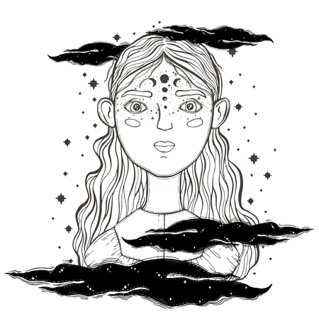 Beautiful young teenage girl, face foreground. Vintage sketch style of drawing. Sketch for tattoo, isolated print on t-shirt. Magical, mystical, ethnic style. Vector illustration.