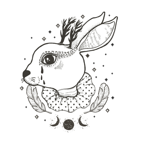 Sketch graphic illustration Circus Rabbit with mystic and occult hand drawn symbols. Vector illustration. Astrological and esoteric concept. Old Fashion Tattoos. Freemasonry and secret societies emblems Illustration