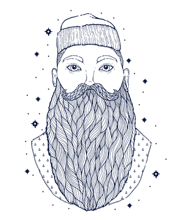 Hand Drawn vintage hipster sailor beard portrait. Old tatoo seaman. Man is an ideal art for print, posters,coloring book, t-shirts and textiles. Mystical image marine. Vector illustration.