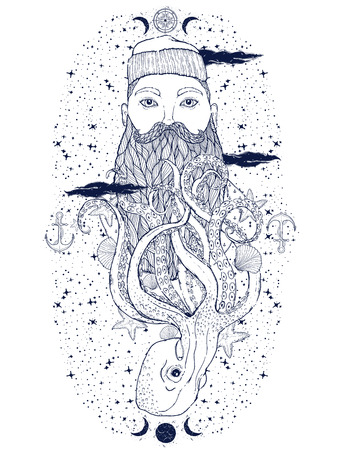 Hand Drawn vintage hipster sailor beard portrait. Old tatoo seaman. Man is an ideal art for print, posters,coloring book, t-shirts and textiles. Mystical image marine. Vector illustration. Stock Illustratie