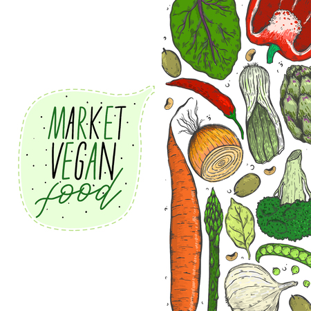 Vector big set of vegetables in a realistic sketch style. Healthy food, natural product, vegetable farm, vegan food, sports nutrition,harvesting festival. Vintage illustration.