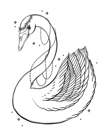 Sketch graphic illustration Beautiful Swan fairytale character with mystic and occult hand drawn symbols. Vector illustration. Vintage Hands with Old Fashion Tattoos.Freemasonry and secret societies emblems