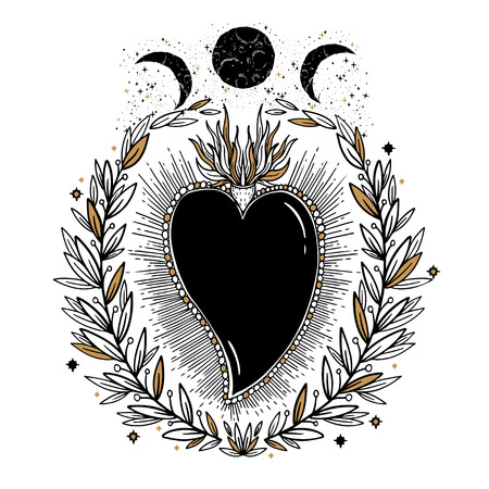 Sketch graphic illustration Beautiful heart with mystic and occult hand drawn symbols. Vector illustration. Vintage Hands with Old Fashion Tattoos.Freemasonry and secret societies emblems