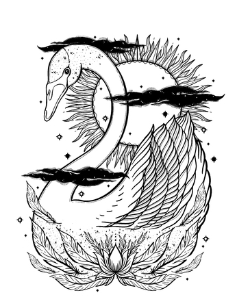 Sketch graphic illustration Beautiful Swan sun fairytale character with mystic and occult hand drawn symbols. Vector illustration. Vintage Hands with Old Fashion Tattoos.Freemasonry and secret societies emblems