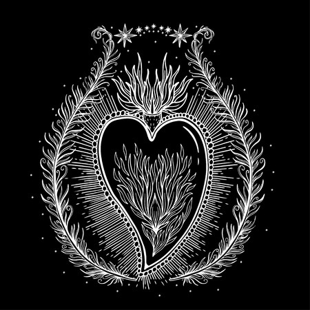 Sketch graphic illustration Beautiful heart with mystic and occult hand drawn symbols. Vector illustration. Vintage Hands with Old Fashion Tattoos,print t shirt.Freemasonry and secret societies emblems Illustration