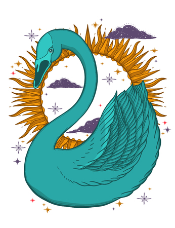 Sketch graphic illustration Beautiful bird swan color with mystic and occult hand drawn symbols. Vector illustration. Vintage prints with Old Fashion Tattoos. Fairtale Illustration