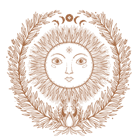Sketch graphic illustration Beautiful Sun face with mystic and occult hand drawn symbols. Vector illustration. Vintage Hands with Old Fashion Tattoos.Freemasonry and secret societies emblems Illustration