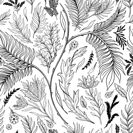Abstract nature seamless pattern hand drawn. Ethnic ornament, floral print, textile fabric, botanical element. Vintage retro style. Image of flowers of leaves and other natural objects. Vector illustration. Vettoriali