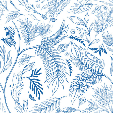 Abstract nature seamless pattern hand drawn. Ethnic ornament, floral print, textile fabric, botanical element. Vintage retro style. Image of flowers of leaves and other natural objects. Vector illustration. Çizim