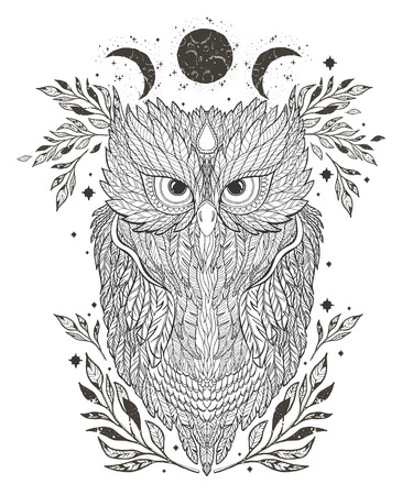 Illustration owl on forest silhouette background and star.Hand drawn vector.Prints design for t-shirts.Retro old style. Vintage Hands with Old Fashion Tattoos. Bird symbol.