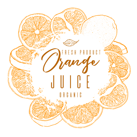 Ink hand drawn frame of orange fruit. Color contour of objects.Food element collection. Vintage sketch. Color label for products, package design Vector illustration