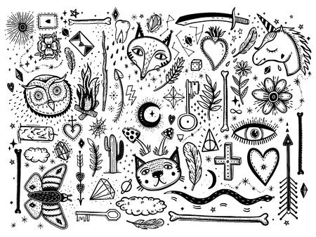 Skizzieren Sie grafische Illustration mit dem großen Satz der mystischen und okkulten handgezeichneten Symbole. Vektorfeiertagsillustration für Tag der Toten oder Halloween. Astrologisches und esoterisches Konzept. Old Fashion Tattoos. Psychedelischer Stil.