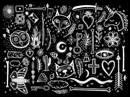 Sketch graphic illustration with mystic and occult hand drawn symbols big set. Vector holiday illustration for Day of the dead or Halloween. Astrological and esoteric concept. Old Fashion Tattoos. Psychedelic style.