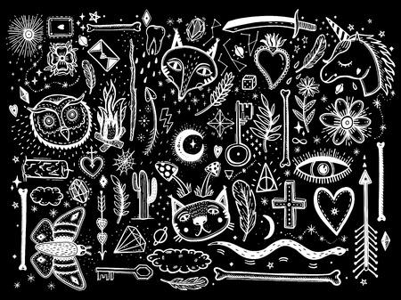 Skizzieren Sie grafische Illustration mit dem großen Satz der mystischen und okkulten handgezeichneten Symbole. Vektorfeiertagsillustration für Tag der Toten oder Halloween. Astrologisches und esoterisches Konzept. Old Fashion Tattoos. Psychedelischer Stil. Vektorgrafik