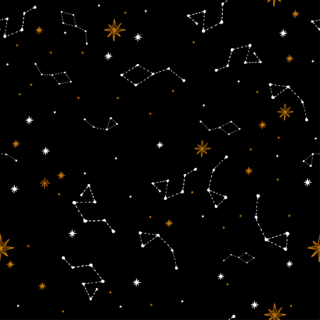 Seamless pattern with a night sky of stars and constellations. Hand-Drawn illustration Background. Beautiful elegant magic abstract picture. For printing on textiles, wallpaper and other decor. Vintage style. 向量圖像