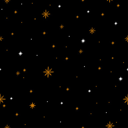 Seamless pattern with a night sky of stars and constellations. Hand-Drawn illustration Background. Beautiful elegant magic abstract picture. For printing on textiles, wallpaper and other decor. Vintage style.
