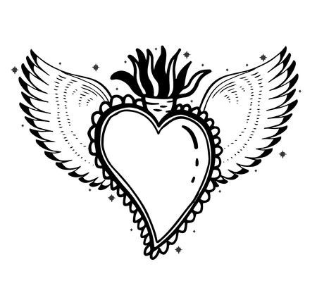 Sacred holy heart Jesus. Sacrament Religion symbol. Mystical icon hand drawn print. Mexico simbol.Vector illustration vintage .