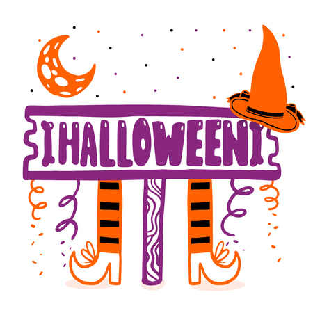 A festive poster for the Halloween party. Design of a banner for a holiday. Element isolated in white.Vector illustration.