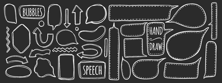 Hand drawn set of speech bubbles. Element speak for design. Isolated in white.Comic style. Vector illustration.
