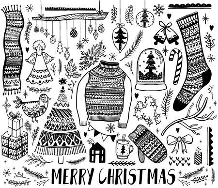 Big set of Christmas design element in doodle style. Hand draw collection New Year. Decorative drawing. Vector illustration. Banque d'images - 109693760