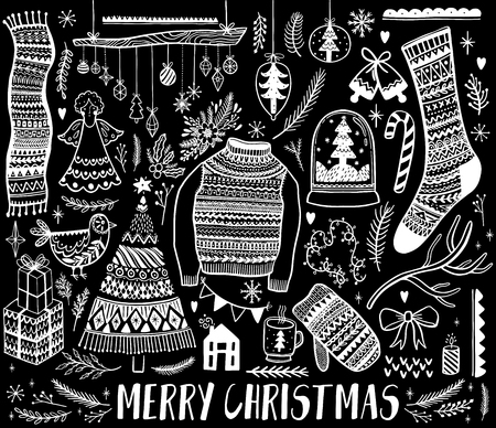 Big set of Christmas design element in doodle style. Hand draw collection New Year. Decorative drawing. Vector illustration. Banque d'images - 109693761