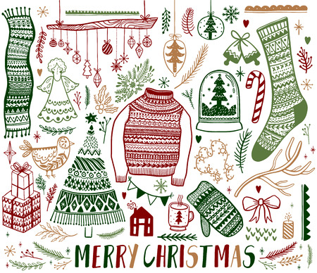 Big set of Christmas design element in doodle style. Hand draw collection New Year. Decorative drawing. Vector illustration. Banque d'images - 108838461